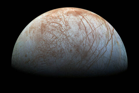This color view of Jupiter's moon Europa was captured by NASA's Galileo spacecraft in the late 1990s. Scientists are studying processes that affect the surface as they prepare to explore the icy body. (NASA/JPL-Caltech/SETI Institute)