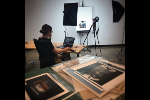 Boyer works to catalog some of the University's art collection. (APSU)