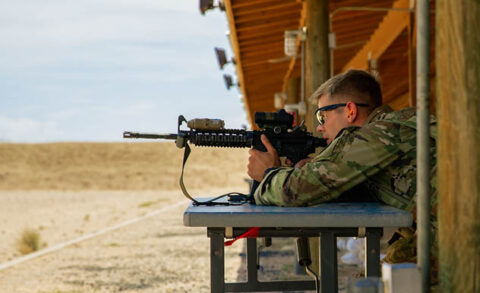 Sgt. Cole Lukens from the Tennessee Army National Guard's 208th Area Support Medical Company in Smyrna fires an M-4 rifle during the Army National Guard's Best Warrior Competition in Arizona on July 20. Lukens won the Best Warrior Competition and is the 2021 Army National Guard Soldier of the Year. (Submitted photo)
