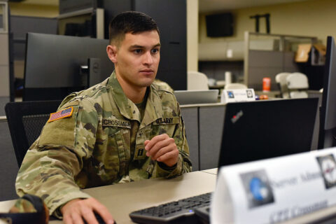 Capt. Curtis Crossman, Det. 2, 175th Cyber Protection Team commander, participates in Cyber Shield 2021, July 14th, at Joint Force Headquarters in Nashville. Cyber Shield 2021 is a national cyber-security exercise designed to increase response capabilities of cyber professionals across the country. (Staff Sgt. Timothy Cordeiro)