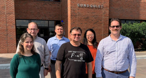 From the left are Drs. Carrie Brennan, chemistry; Gilbert Pitts, biology; Roman Holovchak, physics, engineering and astronomy; Andriy Kovalskiy, physics, engineering and astronomy; Pei Xiong-Skiba, physics, engineering and astronomy; Erik Haroldson, geosciences. Not pictured: Dr. Justin Oelgoetz, physics, engineering and astronomy. (APSU)