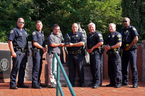 (L to R) Traffic Investigator Cody Bergen, Off. Robert Conery, Chris Gilmore (THSO Law Enforcement Liaison), Sgt. Bret Nortfleet, Sgt. Johnny Ransdell, Sgt. Cris Hill and Lt. Vincent Lewis. (Clarksville Police)
