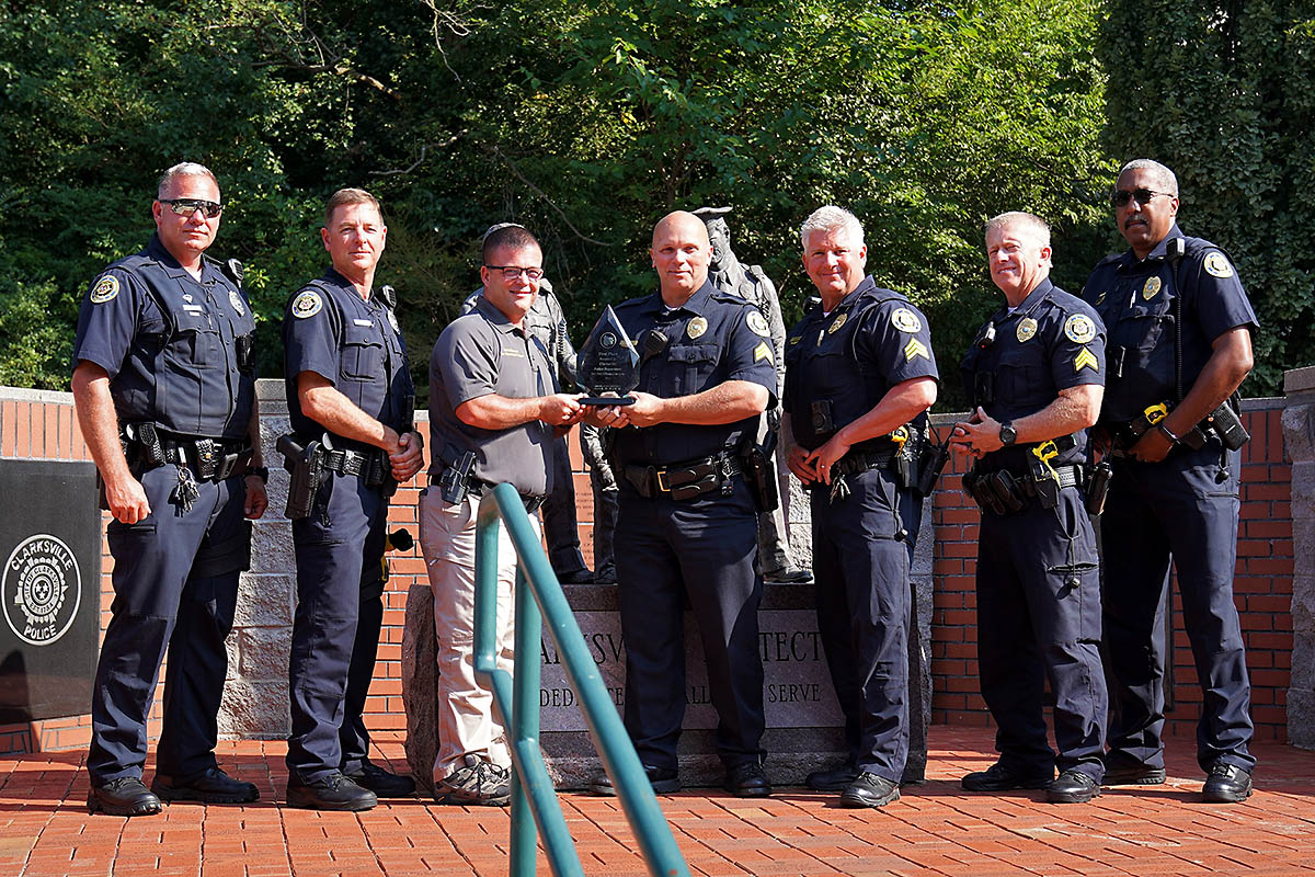 (L to R) Traffic Investigator Cody Bergen, Off. Robert Conery, Chris Gilmore (THSO Law Enforcement Liaison), Sgt. Bret Nortfleet, Sgt. Johnny Ransdell, Sgt. Cris Hill and Lt. Vincent Lewis. Release was written by Officer Dallin Bridges. (Clarksville Police)