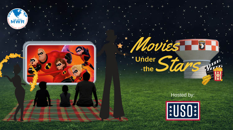 Bring your Family and enjoy a movie under the stars hosted by the USO.