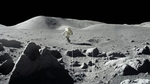 """The Moon is covered with craters and rocks, creating a surface """"roughness"""" that casts shadows, as seen in this photograph from the 1972 Apollo 17 mission. These cold shadows may allow water ice to accumulate as frost even at daytime. The area of detail is highlighted in the following illustration. (NASA)"""