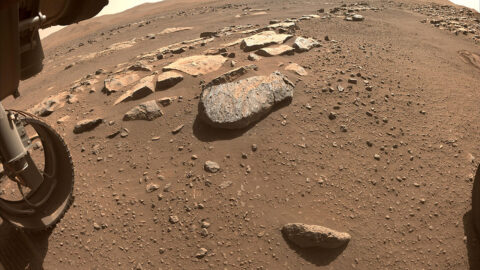 NASA's Perseverance Mars rover will abrade the rock at the center of this image, allowing scientists and engineers to assess whether it would hold up to the rover's more powerful sampling drill. (NASA/JPL-Caltech)