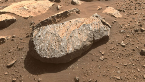 """A close-up of the rock, nicknamed """"Rochette,"""" that the Perseverance science team will examine in order to determine whether to take a rock core sample from it. (NASA/JPL-Caltech)"""