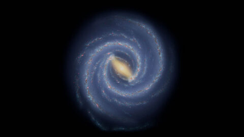 This illustration shows astronomers' current understanding of the large-scale structure of the Milky Way. Stars and star-forming regions are largely grouped into spiral arms. Measuring the shape, size, and number of spiral arms is a challenge because Earth is located inside the galaxy. (NASA/JPL-Caltech)