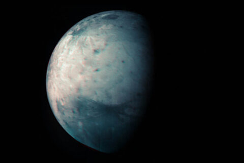 This infrared view of Jupiter's icy moon Ganymede was obtained by the Jovian Infrared Auroral Mapper (JIRAM) instrument aboard NASA's Juno spacecraft during its July 20th, 2021, flyby. (NASA/JPL-Caltech/SwRI/ASI/INAF/JIRAM)