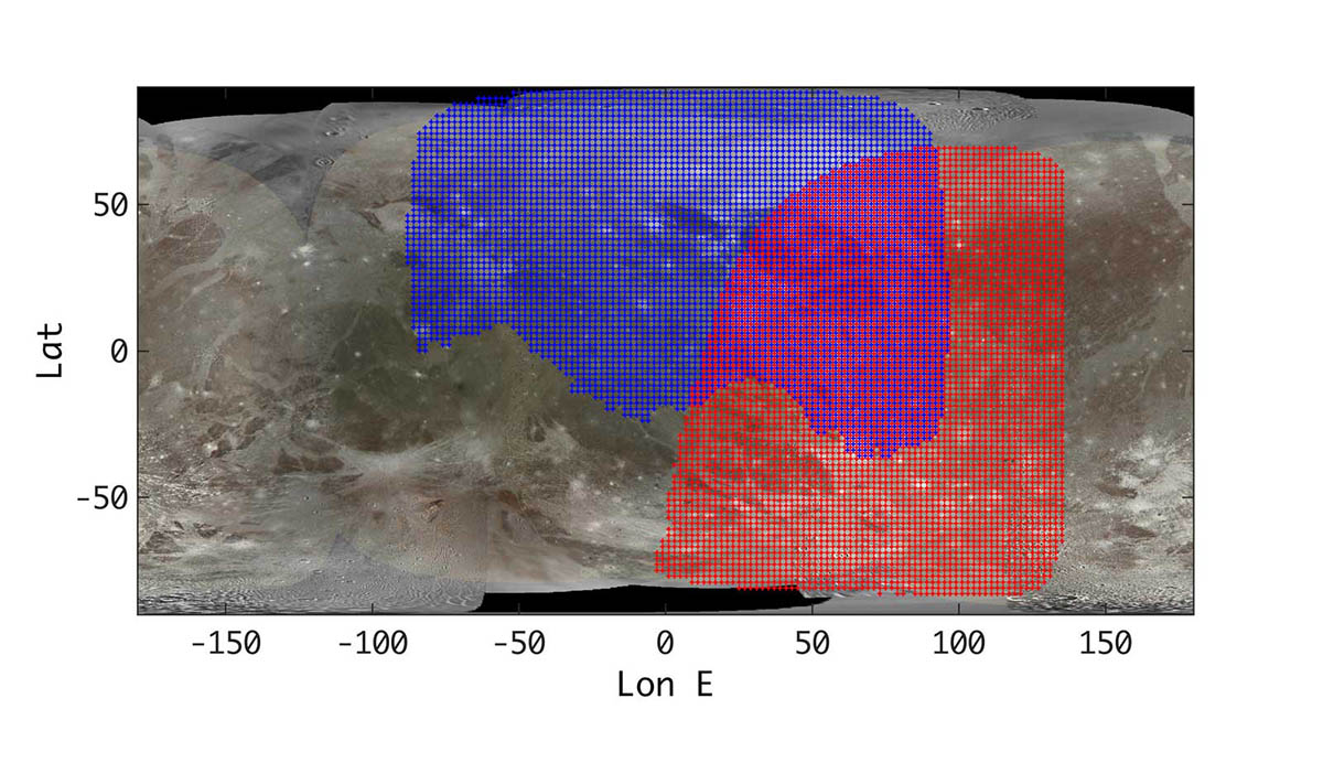 This annotated map of Ganymede depicts the areas of the Jovian moon's surface that were imaged by the Juno spacecraft's JIRAM instrument during two recent close approaches of the moon. (NASA/JPL-Caltech/SwRI/ASI/INAF/JIRAM/USGS)