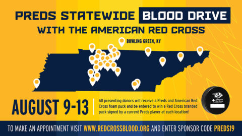 Nashville Predators team with Red Cross for Blood Drives, August 9th-13th