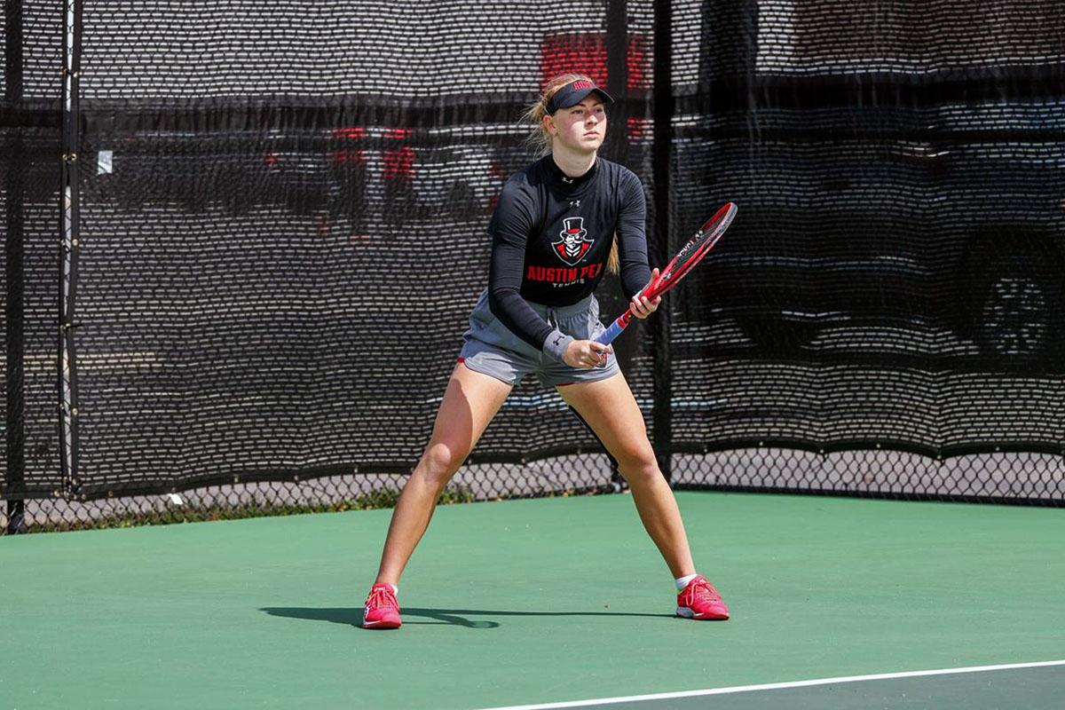 Austin Peay State University Women's Tennis redshirt sophomore Jana Leder gets straight sets win Saturday at APSU Fall Tornament. (APSU Sports Information)