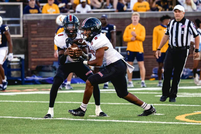 Austin Peay State University Football quarterback Draylen Ellis throws for four touchdowns in 30-20 road win over Chattanooga Mocs Friday night. (APSU Sports Information)