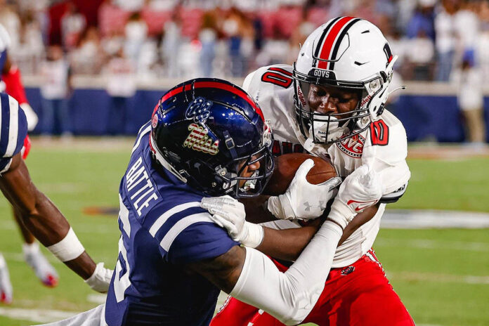 Austin Peay State University football receiver Drae McCray hauled in six catches for 87 yards in loss at Ole Miss Saturday night. (APSU Sports Information)