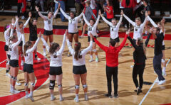 Austin Peay State University roars back from Two Sets down to get Five Set Win over Ohio Saturday at WKU Invitational. (Robert Smith, APSU Sports Information)