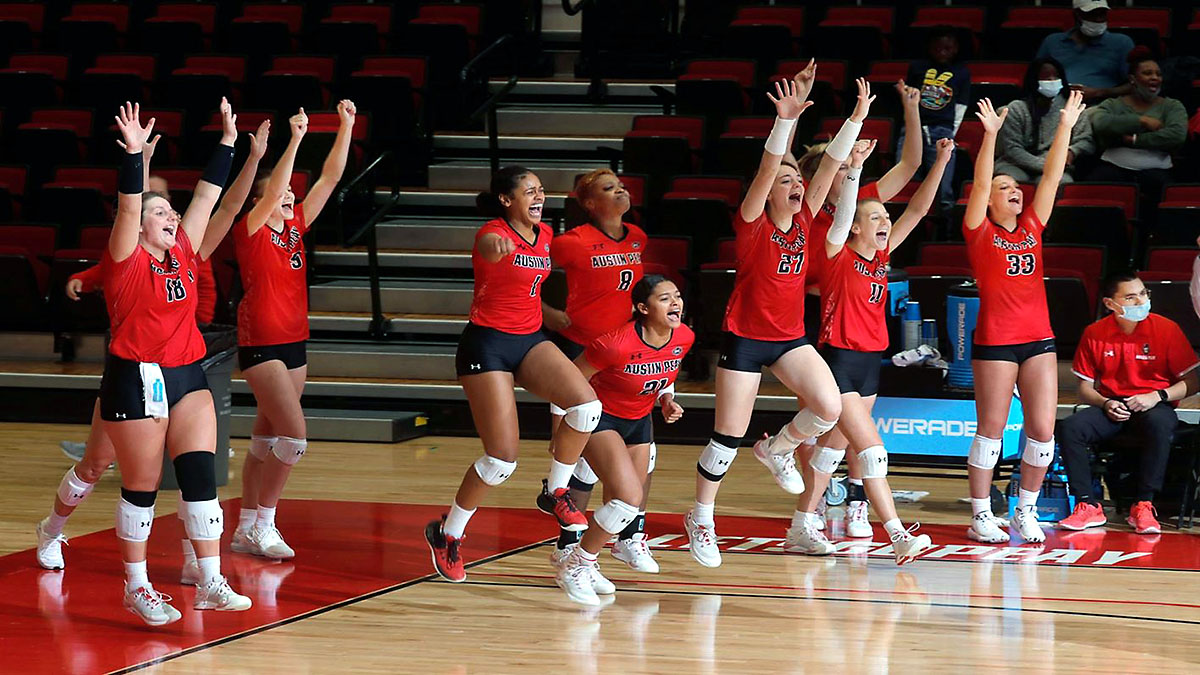 Austin Peay State University Volleyball holds off Morehead State comeback in conference-opening match at the Dunn Center, Friday. (Robert Smith, APSU Sports Information)