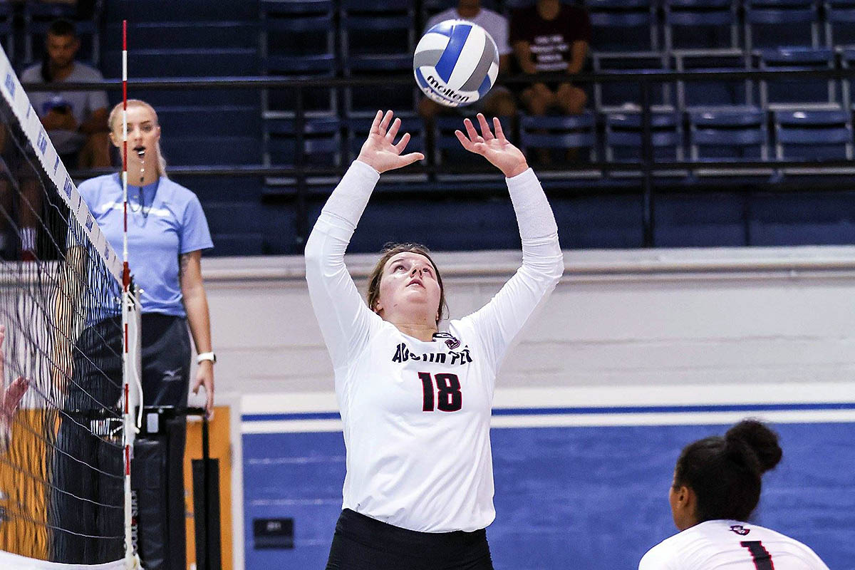 Austin Peay State University Volleyball setter Caroline Waite had 31 assists and 12 digs in loss at Indiana State, Saturday. (APSU Sports Information)