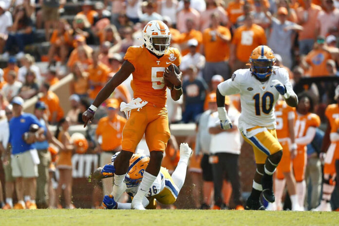 Tennessee football redshirt senior quarterback Hendon Hooker was 15 of 21 passes for 188 yards and two touchdowns. He also rushedfor 49 yards. (UT Athletics)