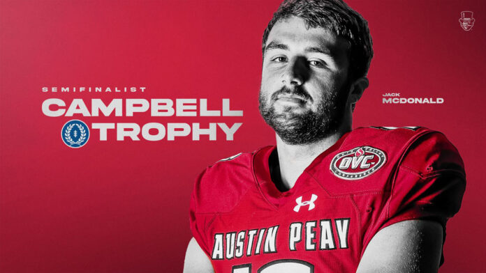 Austin Peay State University Football's Jack McDonald among group of 176 semifinalists for NFF Campbell Trophy. (APSU Sports Information)