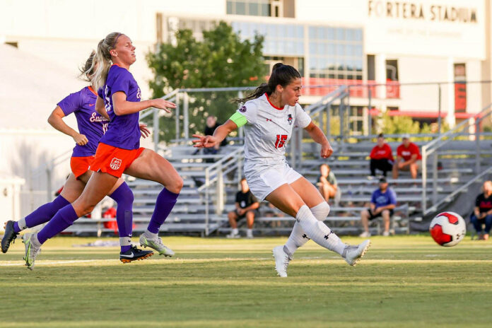 Austin Peay State University soccer's midfielder Claire Larose scores early against Evansville Purple Aces. (APSU Sports Information)