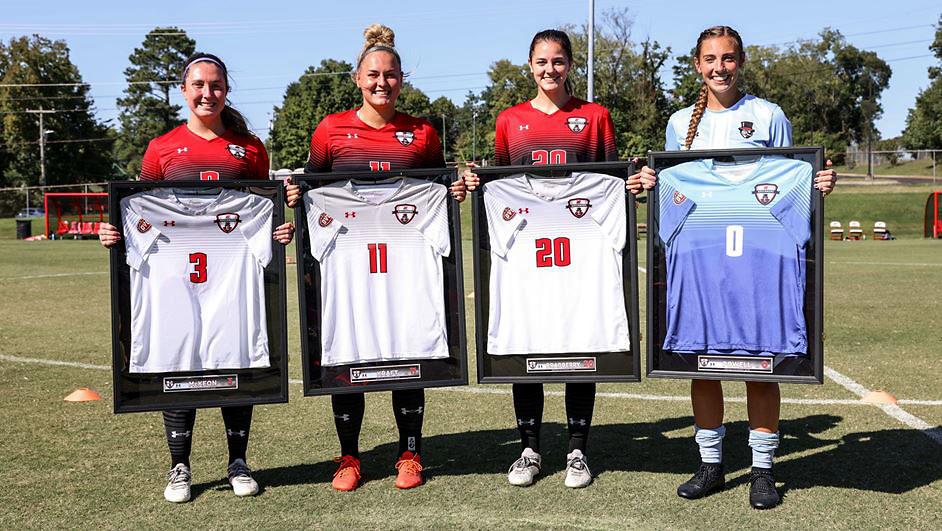 Austin Peay State University Women's Soccer seniors (L to R) Delanie McKeon, Kaylee Kraft, Rachel Bradberry and Peyton Powell were honored Sunday on Senior Day. (Eric Elliot, APSU Sports Information)
