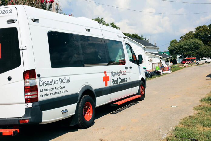 American Red Cross emergency response vehicle prepares to deliver food to residents of Waverly, Tennessee following historic flooding. (Virginia Hart, American Red Cross)