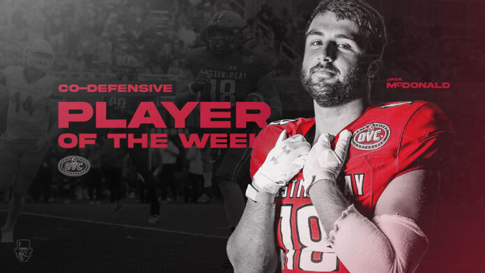 Austin Peay State University Football linebacker Jack McDonald named OVC co-Defensive Player of the Week. (APSU Sports Information)