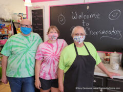 Jim Lacey, daughter Amanda Bumpus and Bonita Lacey of B's Cheesecakes.