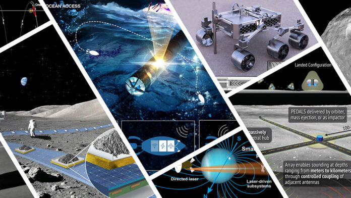 Illustrations of the projects that were selected for Phase I of the 2021 NASA Innovative Advanced Concepts (NIAC) program. (NASA)