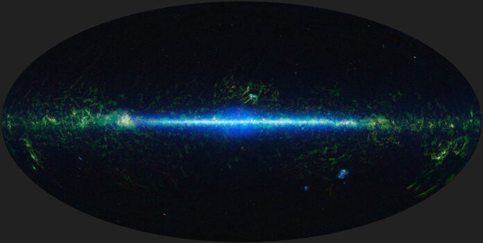 This mosaic shows the entire sky imaged by the Wide-field Infrared Survey Explorer (WISE). Infrared light refers to wavelengths that are longer than those visible to the human eye. Many cosmic objects radiate infrared, including gas and dust clouds where stars form, and brown dwarfs. (NASA/JPL-Caltech/UCLA)
