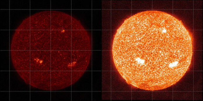 The images show the Sun as seen by another SDO instrument, AIA, in 304 Angstrom light in 2021 before degradation correction (left) and with corrections from a sounding rocket calibration (right). (NASA/SDO)