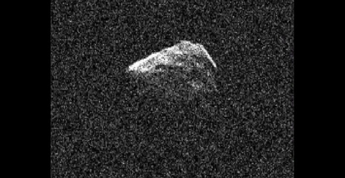 This photo shows asteroid 2016 AJ193 rotate as it was observed by Goldstone's 70-meter (230 foot) antenna on Aug. 22, 2021. Three-quarters of a mile (1.3-kilometers) wide, the object was the 1,001st near-Earth asteroid to be measured by planetary radar since 1968. (NASA/JPL-Caltech)