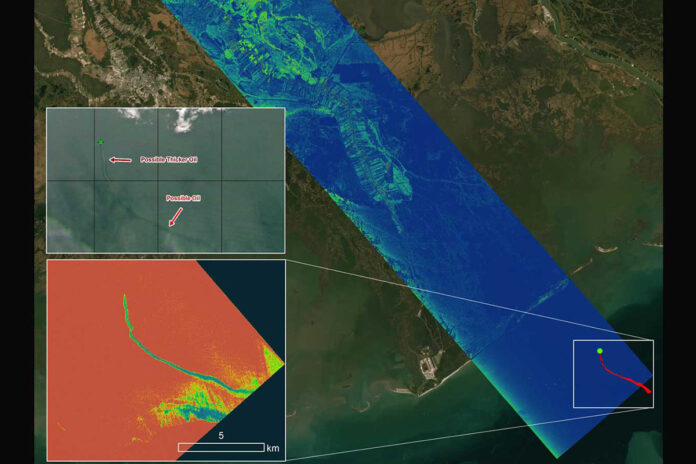 A radar instrument flown by the Delta-X mission captured data on an oil slick (bottom inset image) off the coast of Port Fourchon, Louisiana, on Sept. 1. The data, along with satellite images (top inset picture) helped to confirm the presence of the oil slick in the area. (NASA/JPL-Caltech)