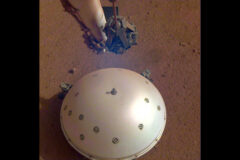 InSight's domed Wind and Thermal Shield covers the lander's seismometer, called Seismic Experiment for Interior Structure, or SEIS. The image was taken on the 110th Martian day, or sol, of the mission. (NASA/JPL-Caltech)