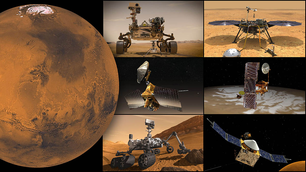 NASA's Mars missions, clockwise from top left: Perseverance rover and Ingenuity Mars Helicopter, InSight lander, Odyssey orbiter, MAVEN orbiter, Curiosity rover, and Mars Reconnaissance Orbiter. (NASA/JPL-Caltech)