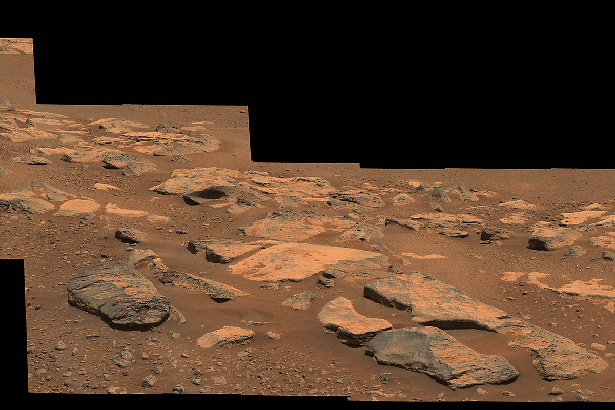 """This mosaic image (composed of multiple individual images taken by NASA's Perseverance rover) shows a rock outcrop in the area nicknamed """"Citadelle"""" on the floor of Mars' Jezero Crater. (NASA/JPL-Caltech/ASU/MSSS)"""