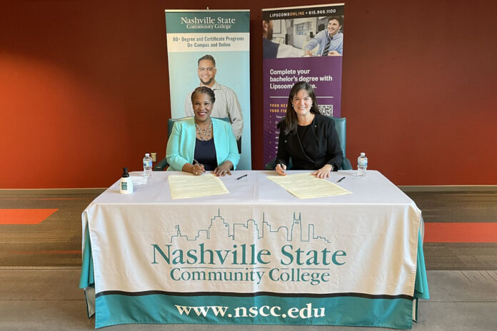Nashville State Community College President Dr. Shanna L. Jackson and Lipscomb University President Dr. Candice McQueen signing an articulation agreement providing a pathway to a bachelor's degree at Lipscomb Online for graduating Nashville State students who want to continue their education.