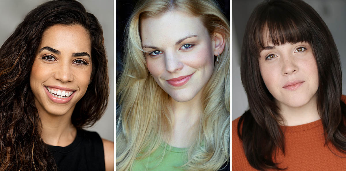 """Yarissa Tiara Millan, Sara Anderson and Kelsey McCollaum star in """"Tea For Three"""" in theotherspace at the Roxy Regional Theatre, September 20th - October 5th."""