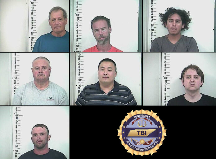 TBI arrests (Top: L to R) Michael Blair, Daniel Dubree, Christopher Garcia-Perez, Steven Howard, Jonathan McDonald, David McGee, and Eric Trobaugh for Human Traficking Operation in Cookeville Tennessee.
