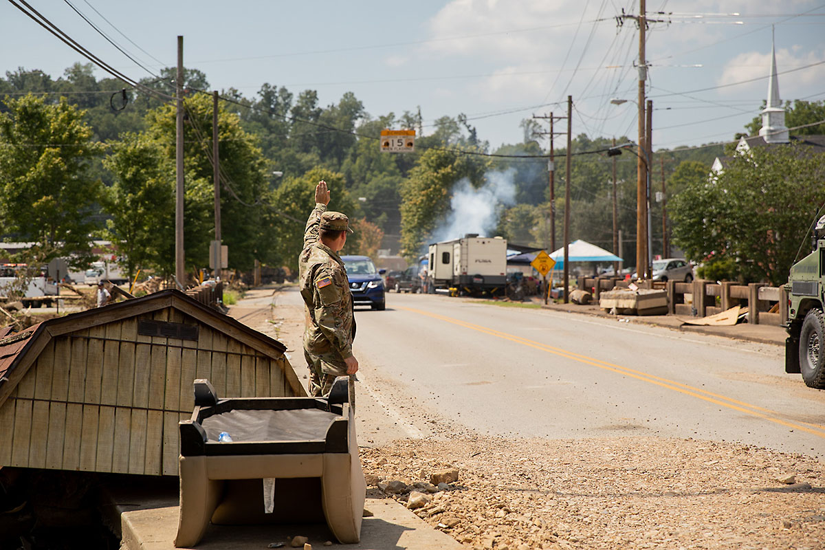 Soldiers from the 230th Engineer Battalion remove debris in Waverly, September 9th. More than 17 inches of rain caused flash floods that ravaged the Waverly community August 20th -21st, killing 20 people and damaging over 550 homes and businesses. (Staff Sgt. Timothy Cordeiro Tennessee National Guard Public Affairs)