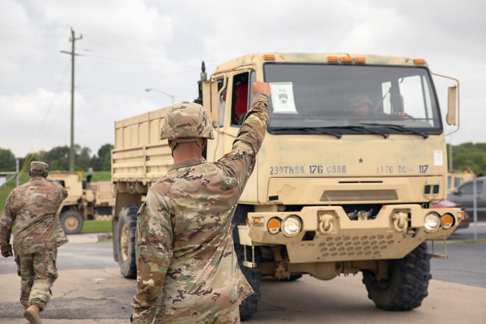 Soldiers from the 1176th Transportation Company, headquartered in Smyrna, prep their vehicles and gear, September 1st, prior to mobilization to Louisiana in support of Hurricane Ida relief efforts. The Tennessee National Guard is sending over 300 Soldiers to work in coordination with local law enforcement and emergency management officials to support rescue and recovery operations in Louisiana. (Staff Sgt. Timothy Cordeiro, Tennessee National Guard Public Affairs)