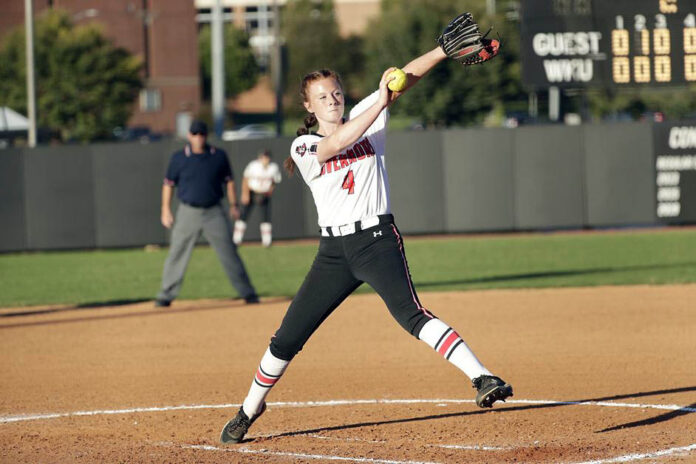Austin Peay State University women's softball pitcher Jordan Benefiel was solid against Western Kentucky in Game1 of a doubleheader. The Govs won 5-1 in the first game before falling 4-1 in the second. (APSU Sports Information)