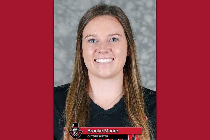 2021-22 APSU Volleyball's Brooke Moore. (Robert Smith, APSU Sports Information)