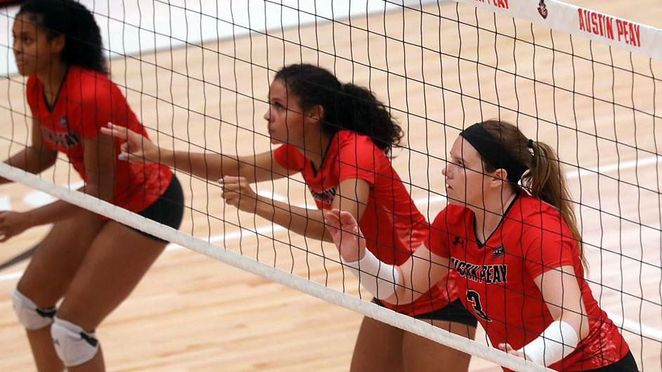 Austin Peay State University Volleyball's Brooke Moore has double-double in win over Tennessee Tech, Saturday. (Robert Smith, APSU Sports Information)