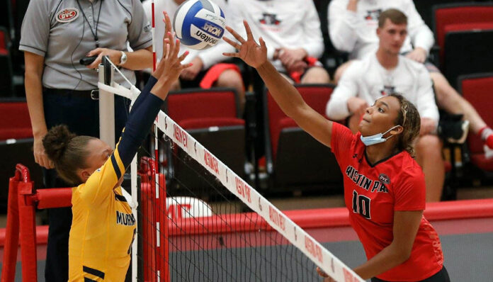 Austin Peay State University Women's Volleyball travels to Nashville this weekend for two matches against Tennessee State. (Robert Smith, APSU Sports Information)