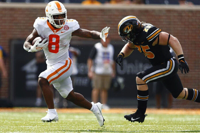 Tennessee Football running back Tiyon Evans had 156 yards and 3 touchdowns in win over Missouri Saturday. (UT Athletics)