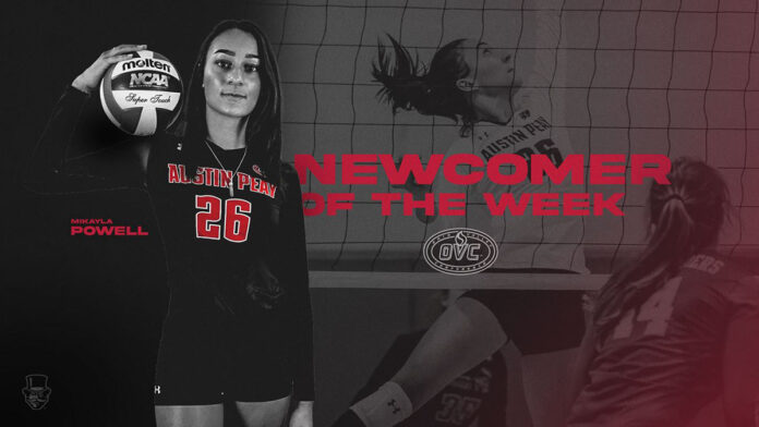 Austin Peay State University Volleyball junior Mikayla Powell earns OVC Newcomer of the Week award. (APSU Sports Information)