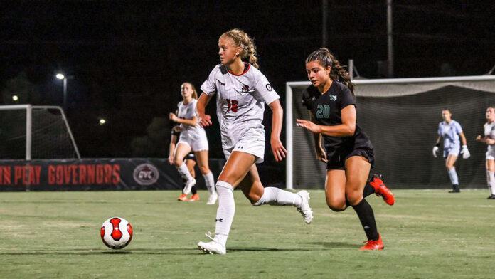 Belmont second half goals down Austin Peay State University Women's Soccer Thursday night at E.S. Rose Park. (APSU Sports Information)