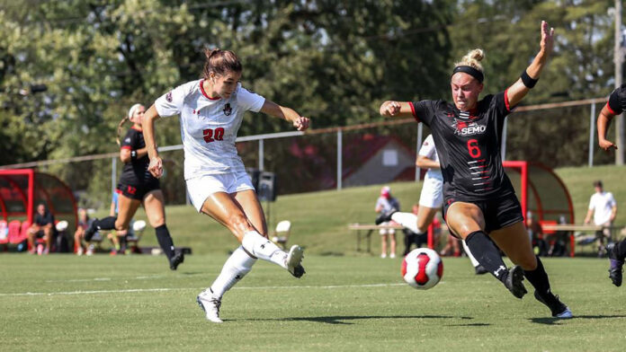 Austin Peay State University Women's Soccer drops 1-0 game to Southeast Missouri at Morgan Brothers Soccer Field, Sunday. (APSU Sports Information)