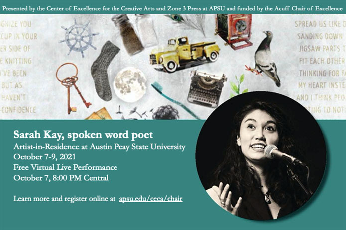 Famed poet Sarah Kay to perform virtually at Austin Peay State University on October 7th. (APSU)